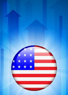 Free United States Flag Icon On Internet Button Stock Photo - 14271940