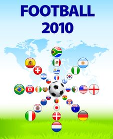 Free Soccer Poster With Flag Buttons Royalty Free Stock Image - 14271956