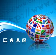 Free Flags Globes On Blue Internet Background Stock Image - 14271971