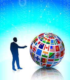 Businessman Presenting Flags Globe Royalty Free Stock Photography