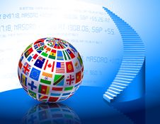 Free Flags Globe With Stairs Royalty Free Stock Photos - 14271998