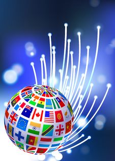 Free Flags Globe On Fiber Optic Background Stock Images - 14272034