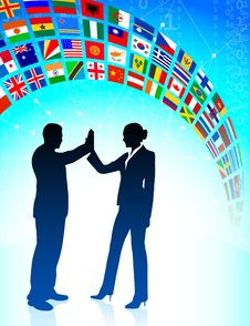 Business Team With Flags Banner Stock Images
