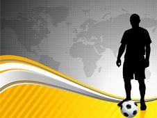 Free Soccer Player With World Map Background Royalty Free Stock Photo - 14272055