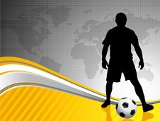 Free Soccer Player With World Map Background Royalty Free Stock Images - 14272059