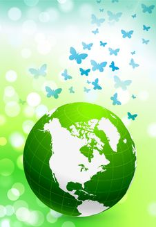 Free Green Nature Globe On Flare Background Royalty Free Stock Photo - 14272085