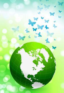Green Nature Globe On Flare Background Royalty Free Stock Photo