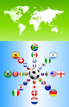 Free Soccer Poster With Flag Buttons Stock Photography - 14272132