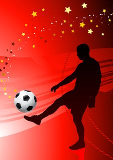 Soccer/Football Player On Red Background Stock Photography