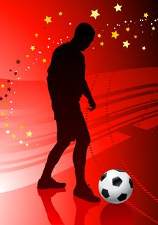Soccer/Football Player On Red Background Stock Photos