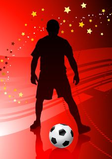 Soccer/Football Player On Red Background Royalty Free Stock Photo