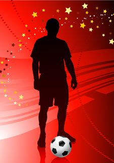 Free Soccer/Football Player On Red Background Royalty Free Stock Images - 14272159