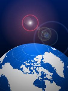 Globe On Lens Glare Background Stock Images