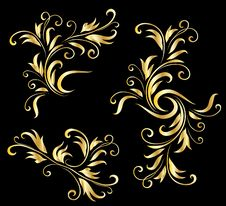 Free Golden Decorative Design Elements Royalty Free Stock Images - 14272169