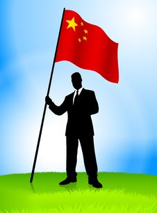 Free Businessman Leader Holding China Flag Stock Photos - 14272233