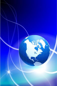 Free Globe On Blue Abstract Background Stock Photography - 14272242