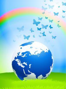 Free Globe On Nature Background Royalty Free Stock Photo - 14272255