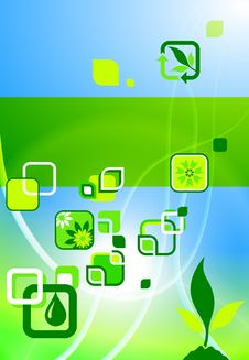 Free Environmental Icons On Nature Poster Background Stock Image - 14272261
