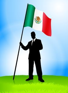 Free Businessman Leader Holding Mexico Flag Stock Images - 14272284