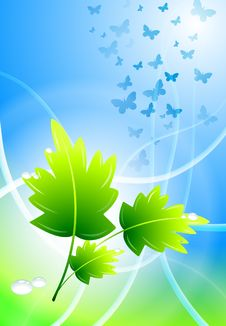 Free Leaves On Abstract Light Streak Background Royalty Free Stock Image - 14272306