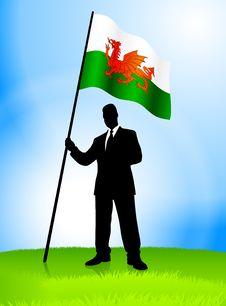Free Businessman Leader Holding Wales Flag Royalty Free Stock Images - 14272309