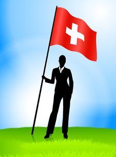 Free Businesswoman Leader Holding Switzerland Flag Stock Photo - 14272340