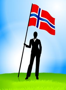 Free Businesswoman Leader Holding Norway Flag Stock Image - 14272341