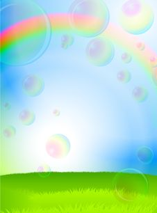 Free Green Grass, Blue Sky And Soap Bubbles Royalty Free Stock Photography - 14272347