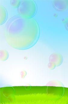 Free Green Grass, Blue Sky And Soap Bubbles Stock Images - 14272374