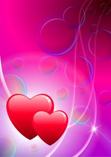 Free Two Hearts Valentine S Day With Bubbles Royalty Free Stock Photo - 14272385