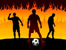 Free Soccer/Football Player On Hell Fire Background Stock Photos - 14272393