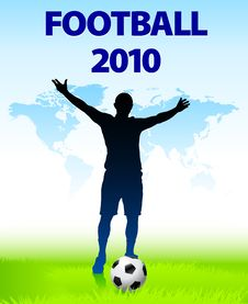 Free Soccer Player With World Map Background Royalty Free Stock Photos - 14272408