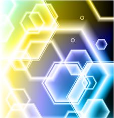 Free Hexagon Shapes On Colorful Abstract Background Royalty Free Stock Photo - 14272525