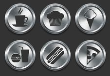 Free Food Icons On Metal Internet Button Stock Photos - 14272603