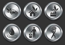 Environmental Icons On Metal Internet Button Royalty Free Stock Photos