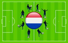 Netherlands Flag Icon With Soccer Match Royalty Free Stock Photos