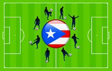 Free Puerto Rico Flag Icon With Soccer Match Stock Images - 14272664