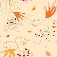 Free Seamless Pattern With Arrowwood Berry And Bird Stock Images - 14272904