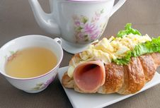 Egg Mayonnaise Croissant With Afternoon Tea Royalty Free Stock Photos