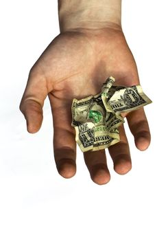 Free The Crumpled American Dollar In A Hand Royalty Free Stock Photo - 14274975