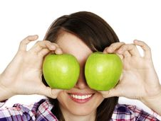 Free Portraitt Of A Girl With Two Apples Stock Photography - 14275132