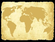 Free Worldmap On Old Paper Royalty Free Stock Photos - 14275898