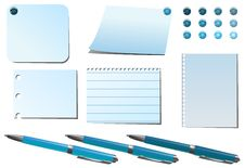 Blue  Pins And Pens Stock Photo