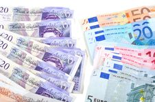 Pile Of British And Euro Money Stock Images