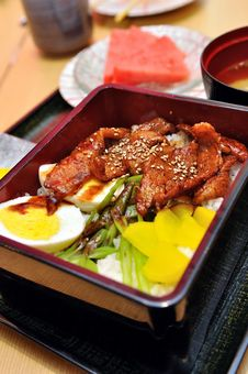 Japanese Grilled Black Pork With Rice Royalty Free Stock Image