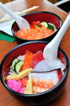 Free Japanese Salmon Don And Mixed Sashimi Don Stock Photos - 14277223