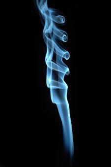 Blue Smoke On Black Background Royalty Free Stock Photo