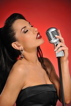 Free Beautiful Brunette Woman Singing Stock Photo - 14278480