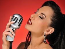 Free Beautiful Brunette Woman Singing Stock Images - 14278484