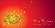 Free Christmas Greeting Card With Wreath And Ca Royalty Free Stock Images - 14278679